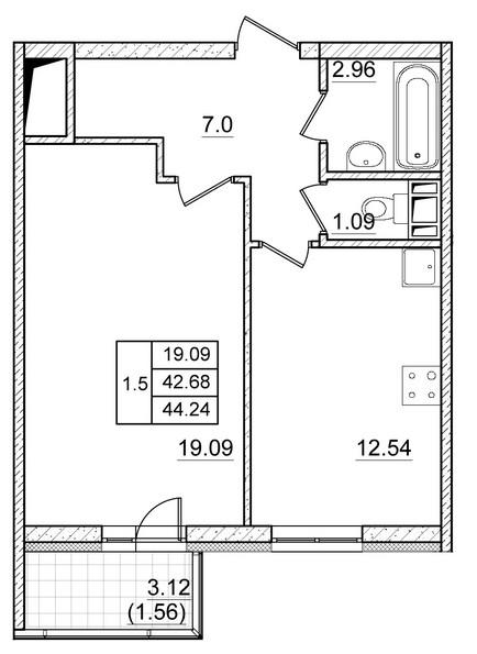 Планировка Однокомнатная квартира площадью 42.68 кв.м в ЖК ««Коломяги Плюс»»