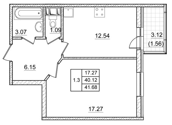 Планировка Однокомнатная квартира площадью 40.12 кв.м в ЖК ««Коломяги Плюс»»