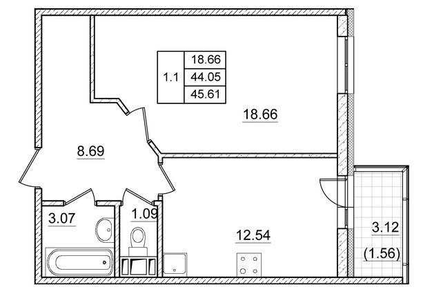 Планировка Однокомнатная квартира площадью 44.05 кв.м в ЖК ««Коломяги Плюс»»