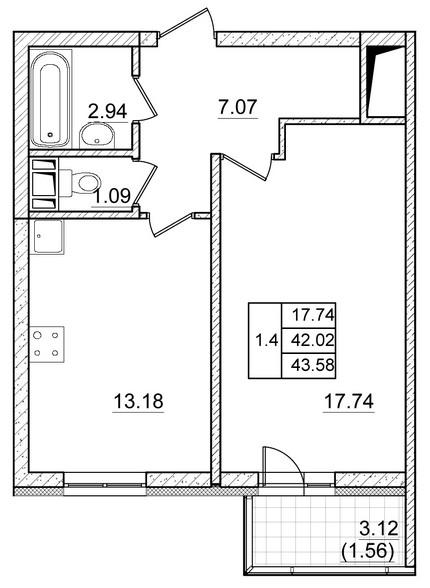 Планировка Однокомнатная квартира площадью 42.02 кв.м в ЖК ««Коломяги Плюс»»