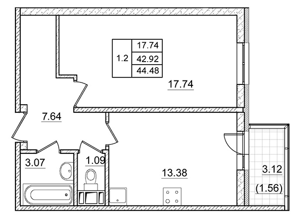 Планировка Однокомнатная квартира площадью 42.92 кв.м в ЖК ««Коломяги Плюс»»