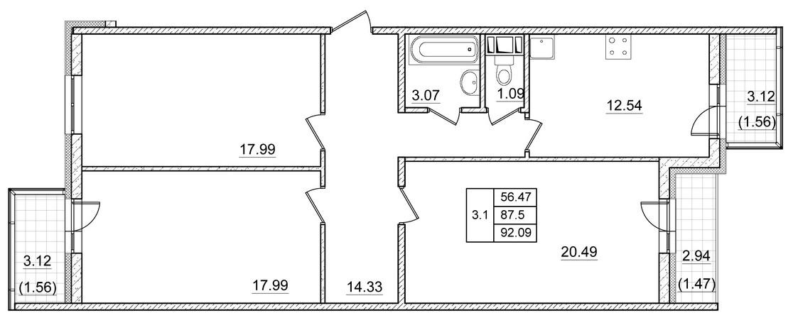 Планировка Трёхкомнатная квартира площадью 87.5 кв.м в ЖК ««Коломяги Плюс»»